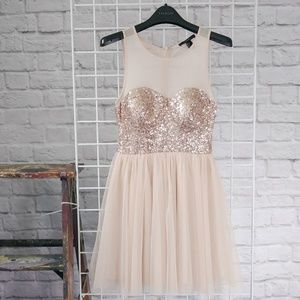 Forever 21 Rose Gold Sparkle Party Dress
